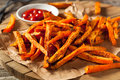 Healthy Homemade Baked Sweet Potato Fries Royalty Free Stock Photo