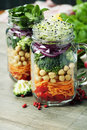 Healthy homemade mason jar salad with chickpea and veggies food diet detox clean eating or vegetarian concept Royalty Free Stock Photos
