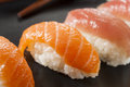 Healthy japanese nigiri sushi with rice and fish Royalty Free Stock Image