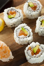 Healthy japanese salmon maki sushi with rice and fish Stock Images
