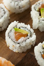 Healthy japanese salmon maki sushi with rice and fish Royalty Free Stock Image