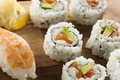 Healthy japanese salmon maki sushi with rice and fish Royalty Free Stock Photos