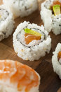Healthy japanese salmon maki sushi with rice and fish Stock Image