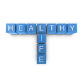 Healthy life 3D crossword on white background Royalty Free Stock Image