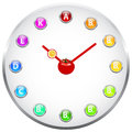 Healthy life clock concept vitamin Stock Image