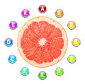 Healthy life grapefruit vitamins illustration Royalty Free Stock Photos