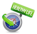 Healthy life indicated by concept compass on white background Royalty Free Stock Photos