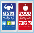Healthy life labels over blue background vector illustration Royalty Free Stock Photo