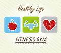 Healthy life over lineal background vector illustration Stock Image