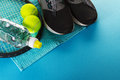 Healthy Life Sport Concept. Sneakers with Tennis Balls, Towel an