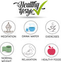 Healthy life symbol set food exercises normal weight drinking more water relaxation and meditation isolated on a white Royalty Free Stock Image