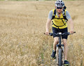 Healthy lifestyle athlete man riding outdoors trail Stock Image
