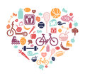 Healthy lifestyle background with icons representing Royalty Free Stock Image