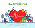 Healthy lifestyle concept with food and sport icons. Natural life vector background with heart shape. Phisycal activity