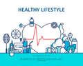 Healthy lifestyle concept with food and sport icons. Natural life vector background with heart shape. Physical activity