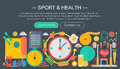 Healthy lifestyle concept with food and sport icons. Sport and fitness flat concept infographics header template design