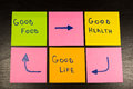 Healthy lifestyle concept, good food, health and life sticky note on wooden background Royalty Free Stock Photo