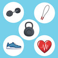 Healthy lifestyle concept sport icons