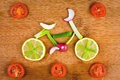 Healthy lifestyle concept vegetable bike Royalty Free Stock Photography