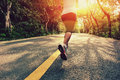 Healthy lifestyle fitness sports woman running leg Royalty Free Stock Photo