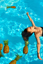 Healthy Lifestyle, Food. Young Woman In Pool. Fruits, Vitamins. Royalty Free Stock Photo