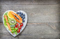 Healthy lifestyle with fresh fruits and vegetables on heart