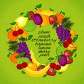 Healthy lifestyle fruit circle wreath from for a Stock Photo