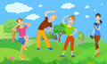 Healthy lifestyle from a group of people who do exercise outdoor