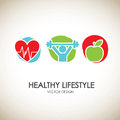 Healthy lifestyle icons over vintage background vector illustration Stock Photos