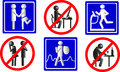 Healthy lifestyle icons stylized traffic signs Stock Photo