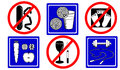 Healthy lifestyle icons stylized traffic signs Royalty Free Stock Photo