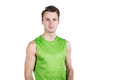 Healthy lifestyle. Portrait of a handsome guy in sportswear, isolated on white background, looking at camera. Horizontal frame Royalty Free Stock Photo