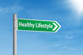 Healthy lifestyle road sign under blue sky Royalty Free Stock Photo