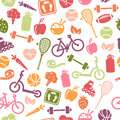 Healthy lifestyle seamless pattern composed from icons representing Stock Images