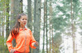 Healthy lifestyle sporty woman running early in the morning in f fitness forest area concept Stock Photo