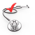 Healthy lifestyle stethoscope with red check mark copy space d render Stock Photography