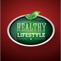 Healthy lifestyle vector button with leaf Stock Images