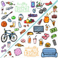 Healthy lifestyle vs unhealthy lifestyle hand drawn cartoon collection Stock Photography