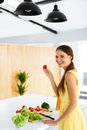 Healthy Lifestyle. Woman Cutting Organic Vegetables. Food Prepar Royalty Free Stock Photo