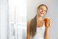 Healthy Lifestyle. Woman Drinking Fresh Detox Juice. Food, Diet, Drinks.