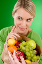 Healthy lifestyle - woman with fruit in paper bag Stock Photography