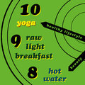 Healthy lifestyle yoga raw light breakfast hot water Stock Image