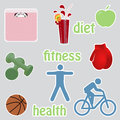Healthy living stikers diet exercise Stock Photography