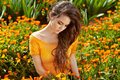 Healthy Long Curly Hair. Beautiful Brunette Woman over marigold Royalty Free Stock Photo