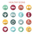 Healthy long shadow icons Royalty Free Stock Photo