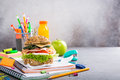 Healthy lunch for school with sandwich Royalty Free Stock Photo