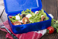 Healthy lunchbox with fresh salad tomato mozzarella Royalty Free Stock Image