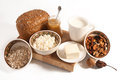 Healthy meal with bread milk and cereals Stock Photo