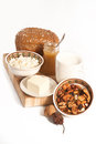 Healthy meal with bread milk and cereals Stock Images