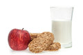 Healthy meal eating cereal bar and apple with milk Stock Photos